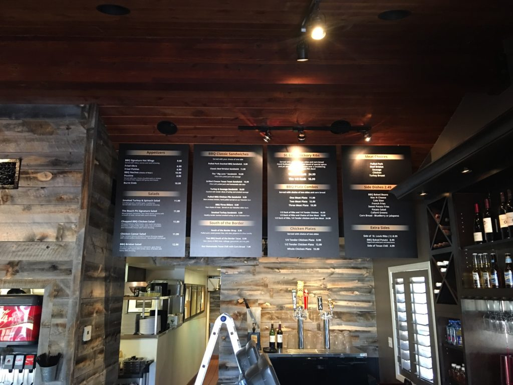 Menu boards installed in a restaurant.